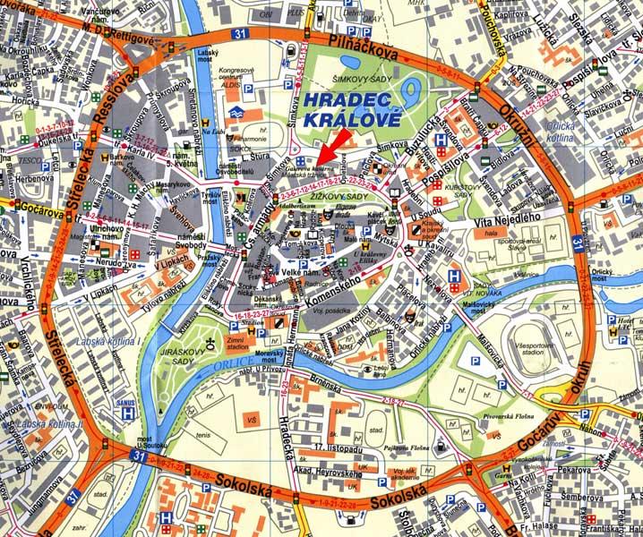 Mapa Hradce Králové